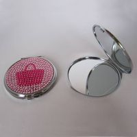 cosmetic compact mirror with diamond on dome for girls thumbnail image