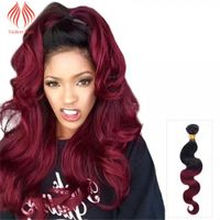 12 - 26 INCH HOT SALE OMBRE HAIR EXTENSIONS BODY WAVE #1B/99J TWO TONE COLOR HAIR EXTENSIONS