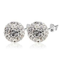 Spherical White 925 Silver 8mm Round Stud Earrings