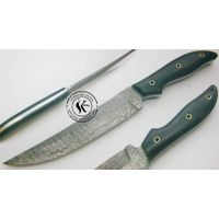 Custom hand made beautiful damascus steel hunting knife thumbnail image