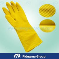 Lined Kitchen/Cleaning/Washing Pink Natural Latex Flocklined Household Gloves Sprayed