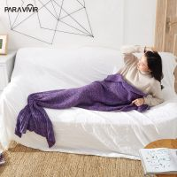 Yarn Knitted Mermaid Tail Blanket For Sleeping Handmade Crochet Blanket Anti-Pilling Warm Blanket