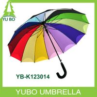 23 inch 14 ribs straight auto open rainbow umbrella