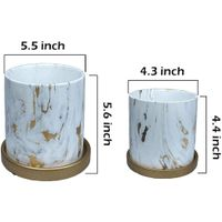 Los Angeles Planter Pots Set, Marble Ceramic Flower Pots Indoor with Drain Hole(pack of 2) thumbnail image