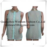 2014 lady mint chiffon gold sequin collar button down summer tank top