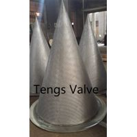 Temporary conical strainer/filter