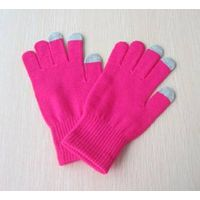 Rose color acrylic touch screen glove in soft touch