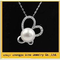 2014 New design fashion 925 Silver inlay diamonds pearl pendant