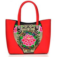Factory hot sale China national canvas embroidery women handbag shoulder bag made in China