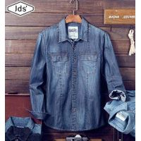 100% cotton denim shirts, two pockets flaps denim shirts for man