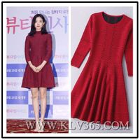New Fashion Designer Women Knitted Wool Long Sleeve Style Embroidery Party Dress China Wholesale