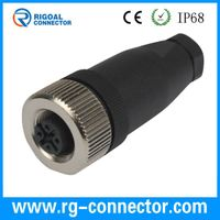 m12 4pins straight female assembly connector with PG9