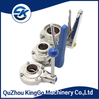 Sanitary stainless steel SS304 SS316L manual butterfly valve