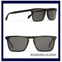 Polarized Black Acetate Retangular-Frame Sunglasses UV Protection