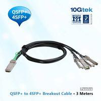 QSFP+ to 4 SFP+ Copper Breakout Cable 3m, Passive (QSFP-4SFP10G-CU3M),Cisco, Arista, Juniper compati
