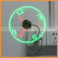 Flexible Gooseneck Mini USB LED Flashing Real Time Display Clock Fan