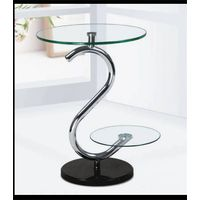 B-170,round shape transparent coffee table (with tempered glass,stainless steel tubes,marble base)