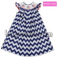 Peace sign smocked bishop dress - BB213