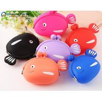 New style eco-friendly lovely cartoon fish shaped silicone coin purses wallets bags thumbnail image