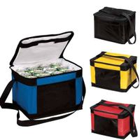 420D polyester 12 cans cooler bag with shoulder strap