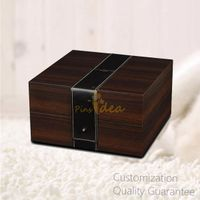 Luxury Tow-tones Branded Wooden Watch Gift Box Case with Leather Belt Decoration thumbnail image