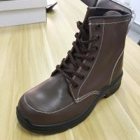 Waterproof Brown Leather High Cut PU Injected Sole Safety Shoes thumbnail image