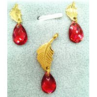Simple Style jewelry Sets Inlay Leaves Stainless Steel with Teardrop-shaped Earring Pendant set