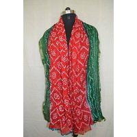 Tapeta Heavy Bandhini Bandhej Stole Scraf Woman Fashion Dupatta Colour Black&Red With Lace Work