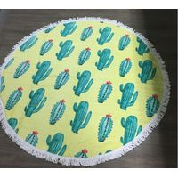 100% Cotton cactus Round Beach Towel