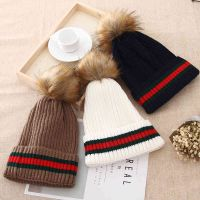 Elegant Graceful Pom Poms Hat Women Winter Accessory