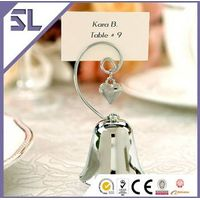 Bell shape silver metal place card holder ornament