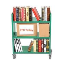 Three flat shelves library book cart RCA-3S-LIB02