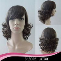 Medium wigs synthetic bottom curl outside