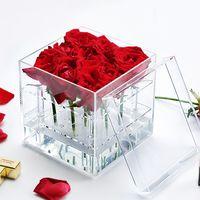 9 holes Clear Acrylic Flower Box Square Can Custom Acrylic Box