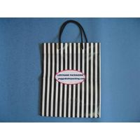 black and white stripes paper shopping bag