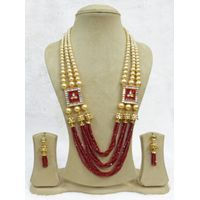 Traditional Necklace Jaipuri Jhumki Red Beaded Meenakari Set