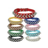 Spiked Dog Collars Adjustable Rivet Studded Pu Leather Dog Collars