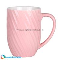 12oz Custom two-tone thread-shaped exterior ceramic coffee mug