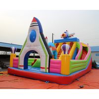 inflatable children castle with rocket gate, air blow bouncer plane castle with slide and ladder thumbnail image