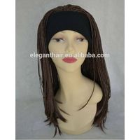 Popular heat resistant fiber synthetic kinky twist braids machine made wig