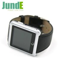 leather Strap smart bluetooth watch with Anti-theft for smartphone