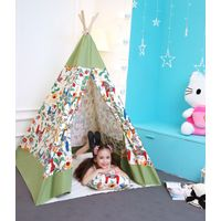 Children play indian teepee tent100%cotton canvas wooden play house kids tent