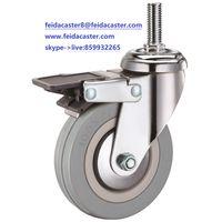 [Feida]Furniture caster plastic gray rubber PVC caster with plastic brake caster manufacturer