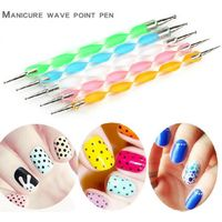 RISESUN 5 pcs 2 Way Nail Art Dotting Marbleizing Painting Pen