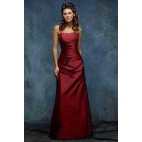 Sheath Strapless Floor Length Taffeta Bridesmaid / Evening Dress