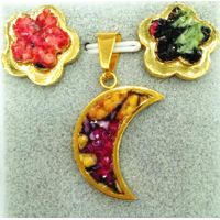 moon glow jewelry Fashion Gold Plated Insert mix color gemstone moon Shape earring pendant set