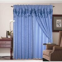 100% polyester yard dyed jacquard window curtain with valance +tassels thumbnail image