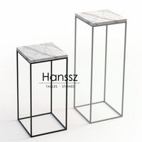 Long frame quadrangle white marble side tables