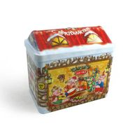 house shaped candy tin box for Christmas gift