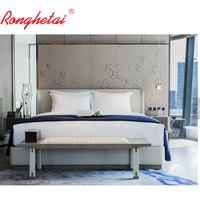 Ronghetai 5 star luxury Moderno Hotel furniture suite custom made metal fabric hotel bedroom set